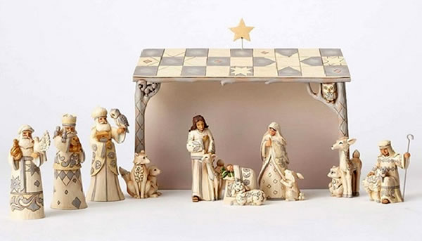 White Woodland Nativity Set by Jim Shore
