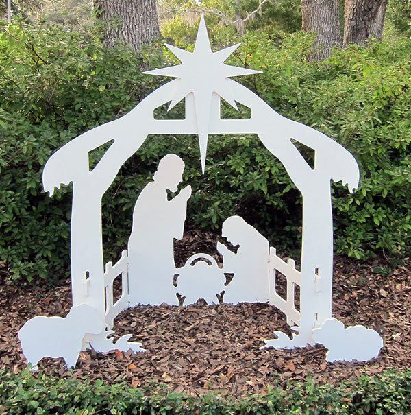 White silhouette style outdoor nativity scene festive nativities teak isle white silhouette outdoor nativity scene solutioingenieria Images